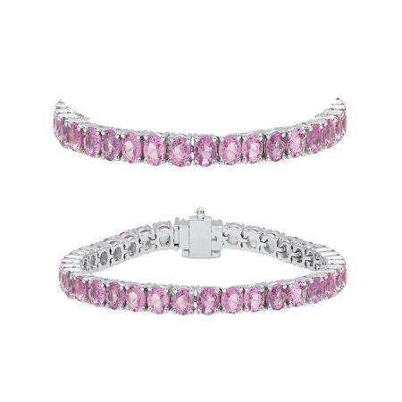 5.00 Carat (ctw) 10K White Gold Round Cut Real Pink Sapphire Ladies Tennis Bracelet 5 CT