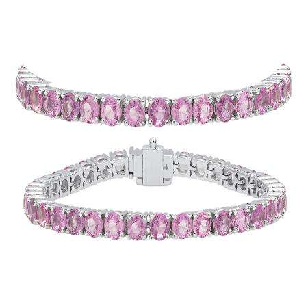 10.00 Carat (ctw) 14K White Gold Round Cut Real Pink Sapphire Ladies Tennis Bracelet 10 CT