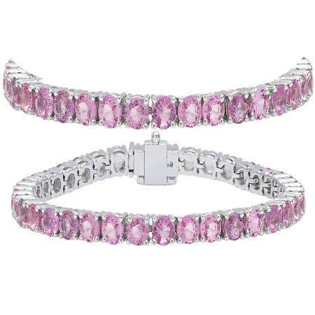 15.00 Carat (ctw) 14K White Gold Round Cut Real Pink Sapphire Ladies Tennis Bracelet 15 CT
