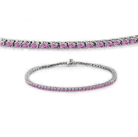 2.00 Carat (ctw) 14K White Gold Round Cut Real Pink Sapphire Ladies Tennis Bracelet 2 CT