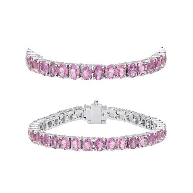 5.00 Carat (ctw) 14K White Gold Round Cut Real Pink Sapphire Ladies Tennis Bracelet 5 CT