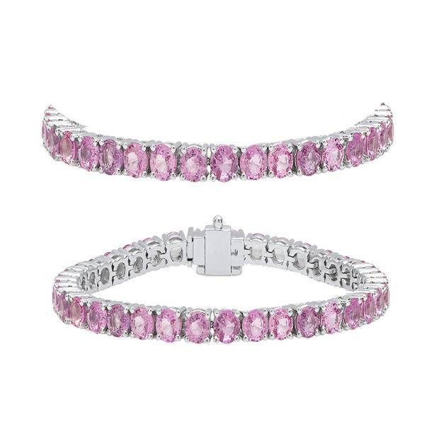 7.00 Carat (ctw) 14K White Gold Round Cut Real Pink Sapphire Ladies Tennis Bracelet 7 CT