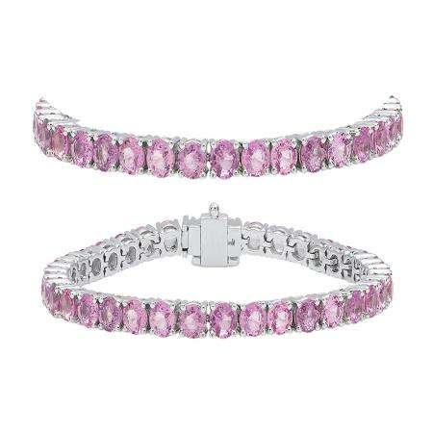 8.00 Carat (ctw) 14K White Gold Round Cut Real Pink Sapphire Ladies Tennis Bracelet 8 CT