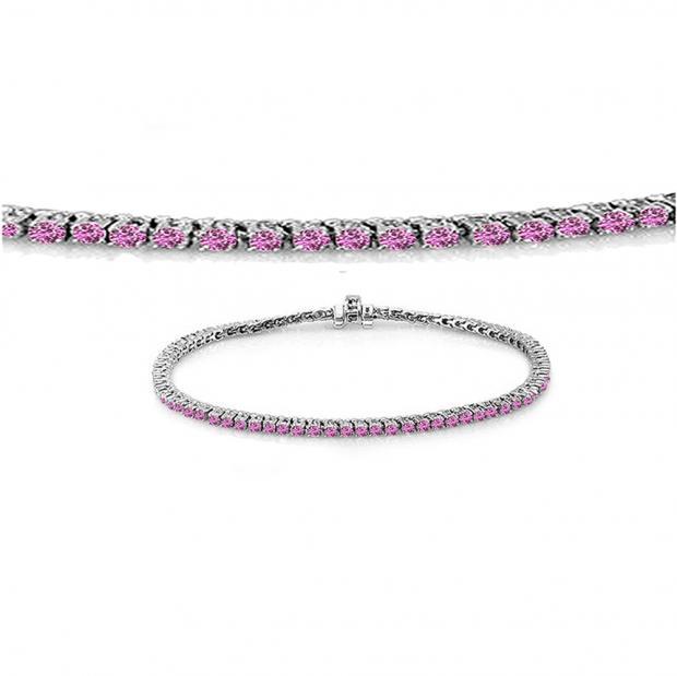 1.50 Carat (ctw) 14K White Gold Round Cut Real Pink Sapphire Ladies Tennis Bracelet 1 1/2 CT