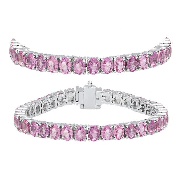 10.00 Carat (ctw) 18K White Gold Round Cut Real Pink Sapphire Ladies Tennis Bracelet 10 CT