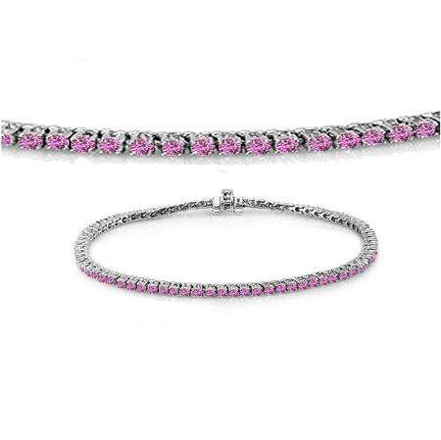 3.00 Carat (ctw) 18K White Gold Round Cut Real Pink Sapphire Ladies Tennis Bracelet 3 CT