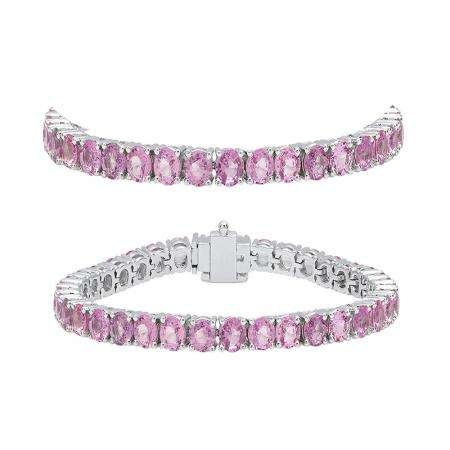 7.00 Carat (ctw) 18K White Gold Round Cut Real Pink Sapphire Ladies Tennis Bracelet 7 CT