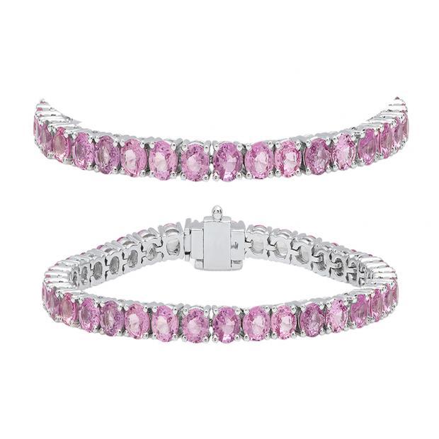 8.00 Carat (ctw) 18K White Gold Round Cut Real Pink Sapphire Ladies Tennis Bracelet 8 CT