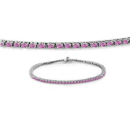 1.50 Carat (ctw) 18K White Gold Round Cut Real Pink Sapphire Ladies Tennis Bracelet 1 1/2 CT