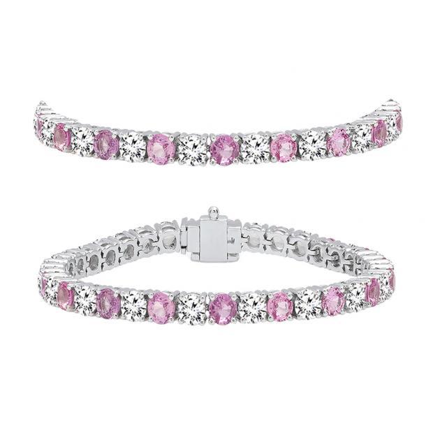 10.00 Carat (ctw) 10K White Gold Round Real Pink Sapphire & White Diamond Ladies Tennis Bracelet 10 CT