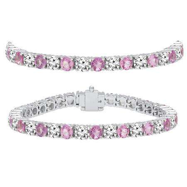 15.00 Carat (ctw) 10K White Gold Round Real Pink Sapphire & White Diamond Ladies Tennis Bracelet 15 CT
