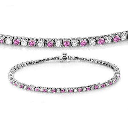 3.00 Carat (ctw) 10K White Gold Round Real Pink Sapphire & White Diamond Ladies Tennis Bracelet 3 CT