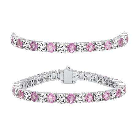 10.00 Carat (ctw) 14K White Gold Round Real Pink Sapphire & White Diamond Ladies Tennis Bracelet 10 CT