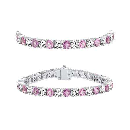 7.00 Carat (ctw) 14K White Gold Round Real Pink Sapphire & White Diamond Ladies Tennis Bracelet 7 CT