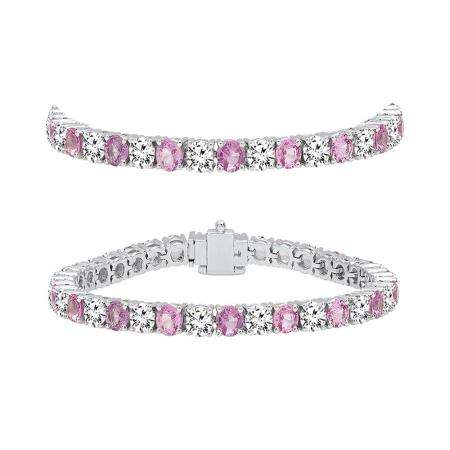 8.00 Carat (ctw) 14K White Gold Round Real Pink Sapphire & White Diamond Ladies Tennis Bracelet 8 CT