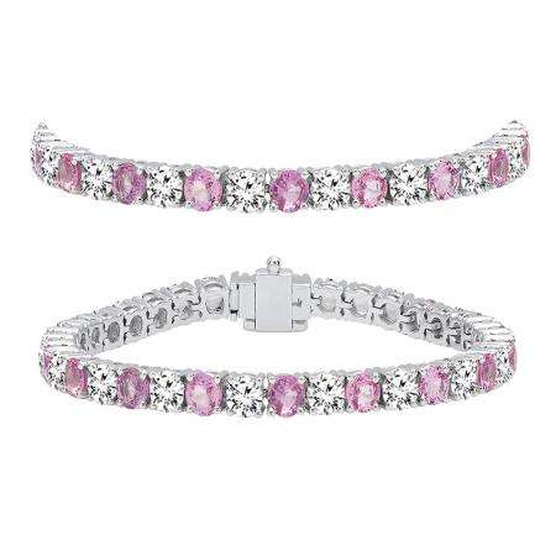 12.00 Carat (ctw) 18K White Gold Round Real Pink Sapphire & White Diamond Ladies Tennis Bracelet 12 CT