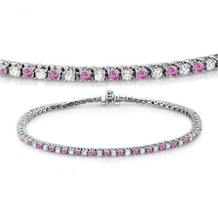 2.00 Carat (ctw) 18K White Gold Round Real Pink Sapphire & White Diamond Ladies Tennis Bracelet 2 CT