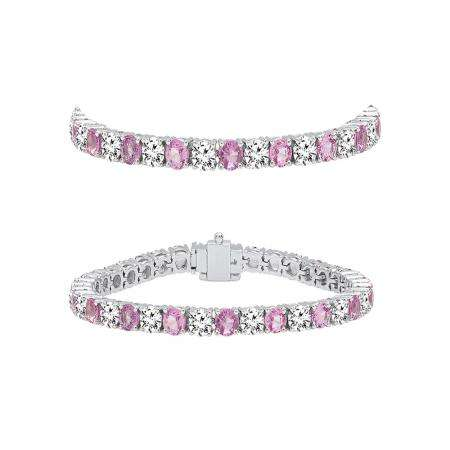 5.00 Carat (ctw) 18K White Gold Round Real Pink Sapphire & White Diamond Ladies Tennis Bracelet 5 CT