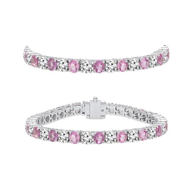 7.00 Carat (ctw) 18K White Gold Round Real Pink Sapphire & White Diamond Ladies Tennis Bracelet 7 CT