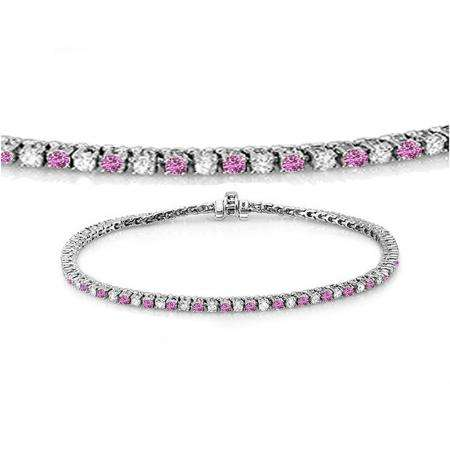 1.50 Carat (ctw) 18K White Gold Round Real Pink Sapphire & White Diamond Ladies Tennis Bracelet 1 1/2 CT