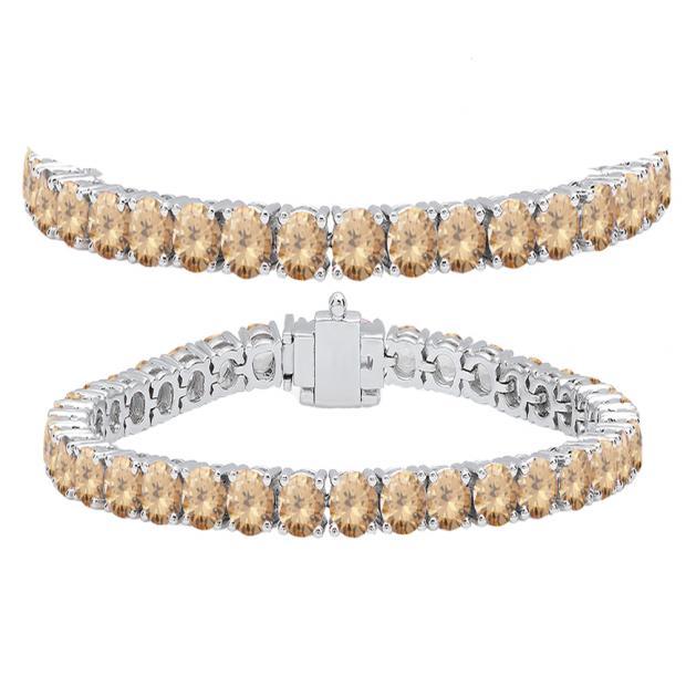 12.00 Carat (ctw) 10K White Gold Round Cut Real Champagne Diamond Ladies Tennis Bracelet 12 CT