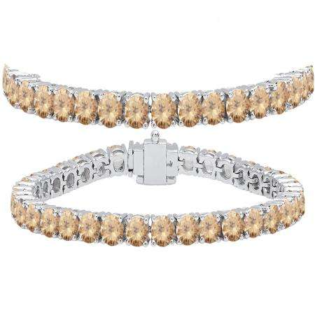 15.00 Carat (ctw) 10K White Gold Round Cut Real Champagne Diamond Ladies Tennis Bracelet 15 CT
