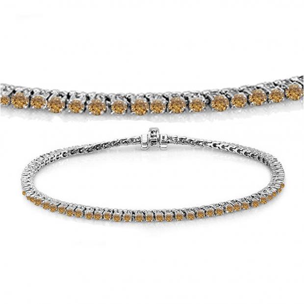 3.00 Carat (ctw) 10K White Gold Round Cut Real Champagne Diamond Ladies Tennis Bracelet 3 CT