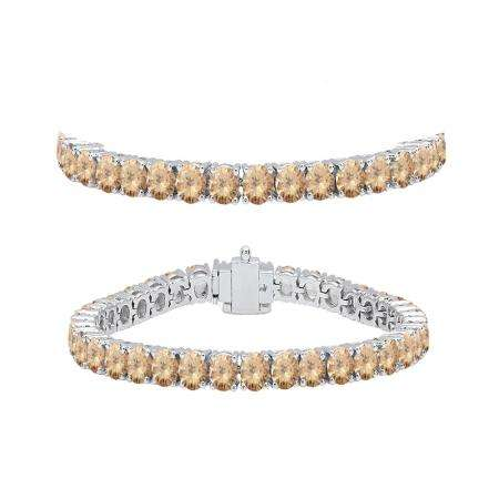 7.00 Carat (ctw) 10K White Gold Round Cut Real Champagne Diamond Ladies Tennis Bracelet 7 CT