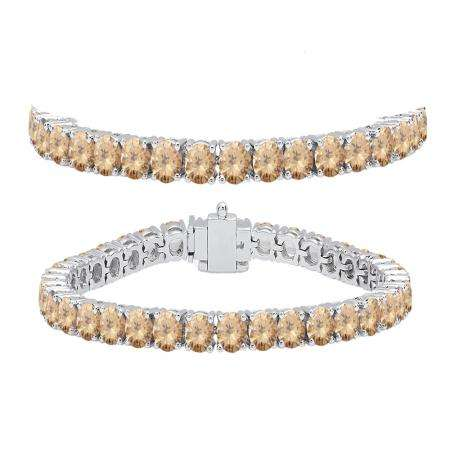 10.00 Carat (ctw) 14K White Gold Round Cut Real Champagne Diamond Ladies Tennis Bracelet 10 CT