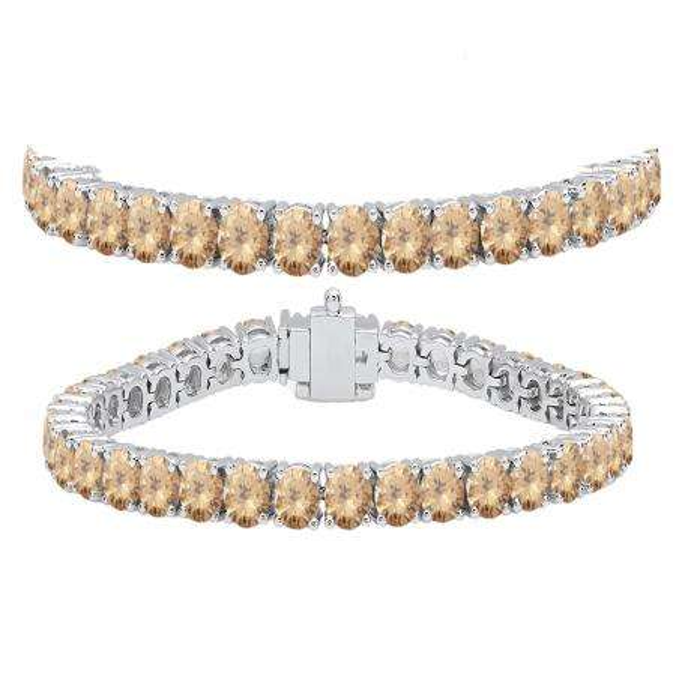 12.00 Carat (ctw) 14K White Gold Round Cut Real Champagne Diamond Ladies Tennis Bracelet 12 CT
