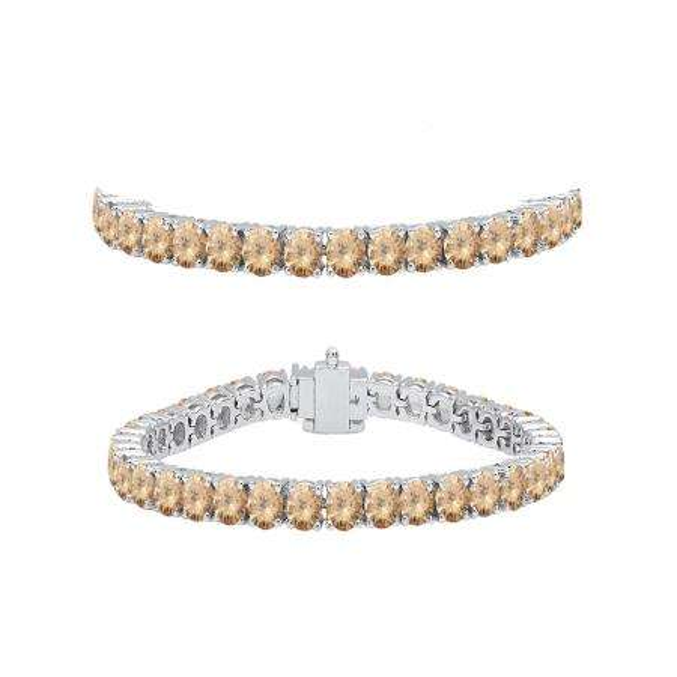 5.00 Carat (ctw) 18K White Gold Round Cut Real Champagne Diamond Ladies Tennis Bracelet 5 CT