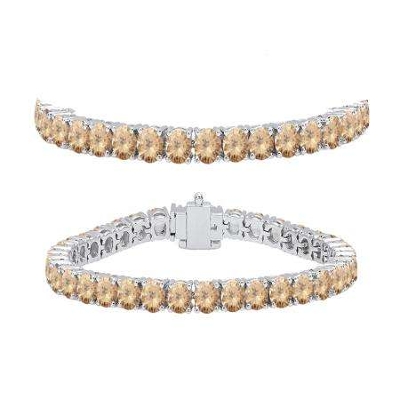 8.00 Carat (ctw) 18K White Gold Round Cut Real Champagne Diamond Ladies Tennis Bracelet 8 CT