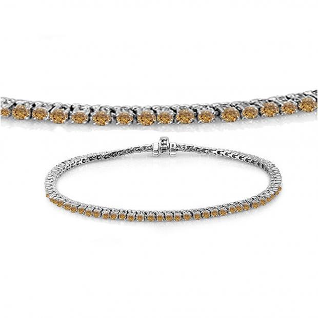 1.50 Carat (ctw) 18K White Gold Round Cut Real Champagne Diamond Ladies Tennis Bracelet 1 1/2 CT