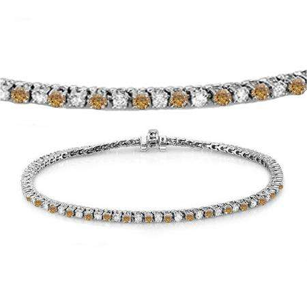 3.00 Carat (ctw) 10K White Gold Round Real Champagne & White Diamond Ladies Tennis Bracelet 3 CT