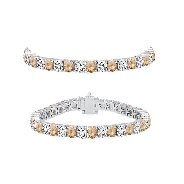5.00 Carat (ctw) 10K White Gold Round Real Champagne & White Diamond Ladies Tennis Bracelet 5 CT