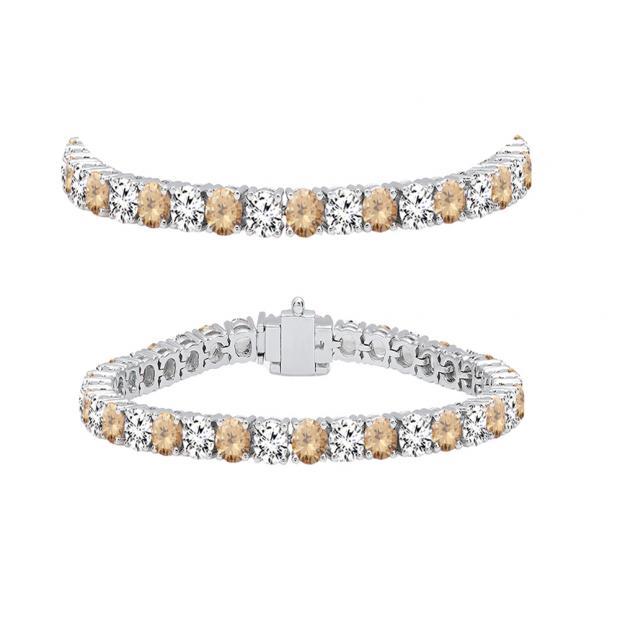 7.00 Carat (ctw) 10K White Gold Round Real Champagne & White Diamond Ladies Tennis Bracelet 7 CT
