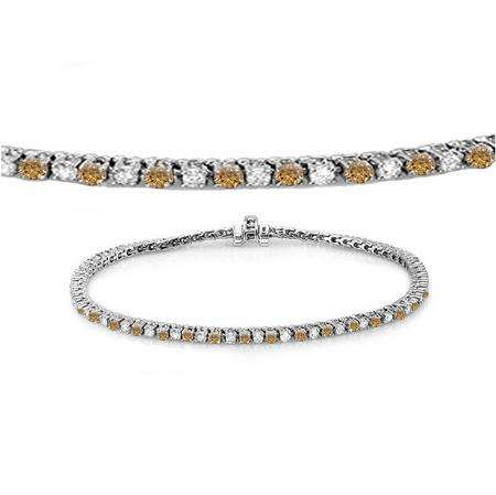 1.50 Carat (ctw) 10K White Gold Round Real Champagne & White Diamond Ladies Tennis Bracelet 1 1/2 CT