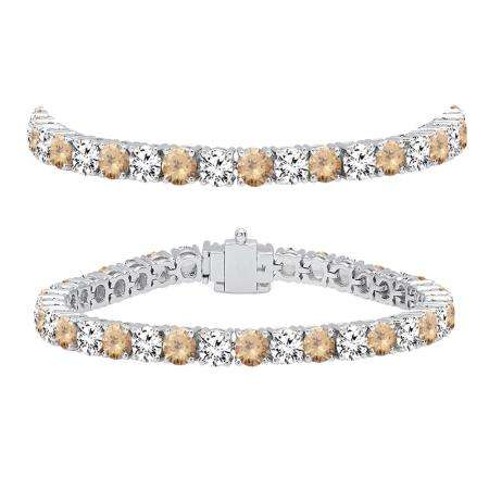 12.00 Carat (ctw) 14K White Gold Round Real Champagne & White Diamond Ladies Tennis Bracelet 12 CT