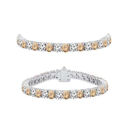 5.00 Carat (ctw) 14K White Gold Round Real Champagne & White Diamond Ladies Tennis Bracelet 5 CT