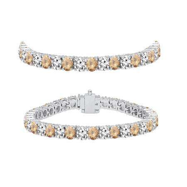 7.00 Carat (ctw) 14K White Gold Round Real Champagne & White Diamond Ladies Tennis Bracelet 7 CT