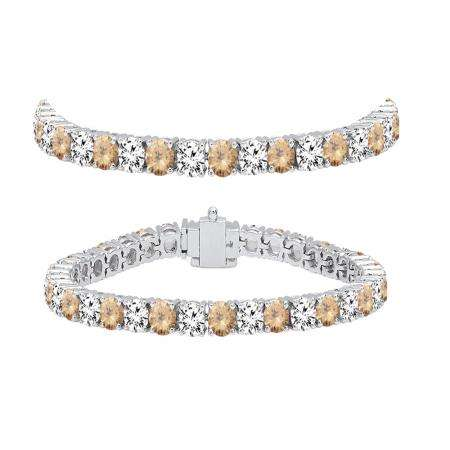 8.00 Carat (ctw) 14K White Gold Round Real Champagne & White Diamond Ladies Tennis Bracelet 8 CT