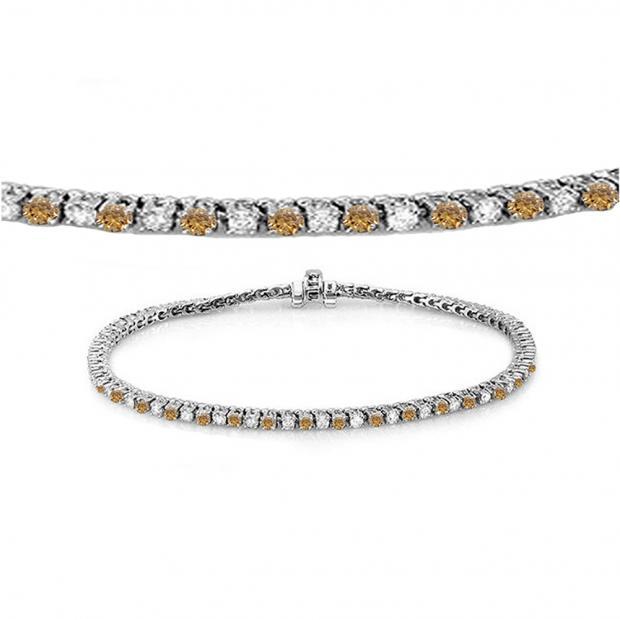 1.50 Carat (ctw) 14K White Gold Round Real Champagne & White Diamond Ladies Tennis Bracelet 1 1/2 CT