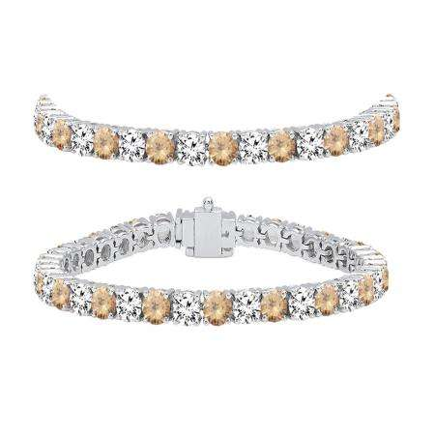 10.00 Carat (ctw) 18K White Gold Round Real Champagne & White Diamond Ladies Tennis Bracelet 10 CT