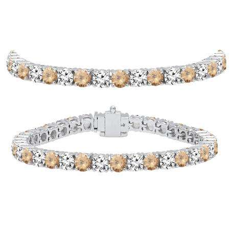 15.00 Carat (ctw) 18K White Gold Round Real Champagne & White Diamond Ladies Tennis Bracelet 15 CT