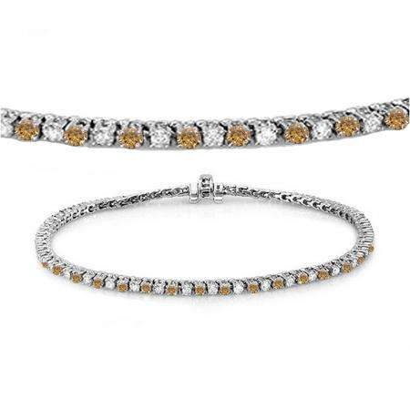 2.00 Carat (ctw) 18K White Gold Round Real Champagne & White Diamond Ladies Tennis Bracelet 2 CT