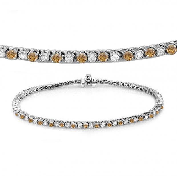 3.00 Carat (ctw) 18K White Gold Round Real Champagne & White Diamond Ladies Tennis Bracelet 3 CT