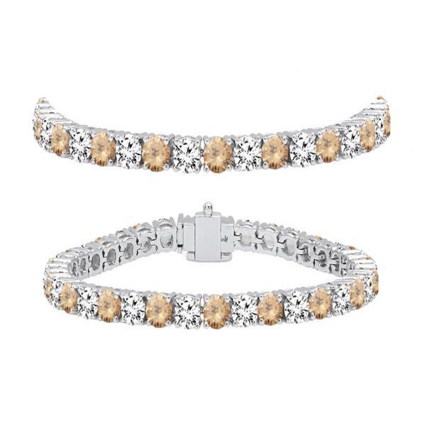 8.00 Carat (ctw) 18K White Gold Round Real Champagne & White Diamond Ladies Tennis Bracelet 8 CT