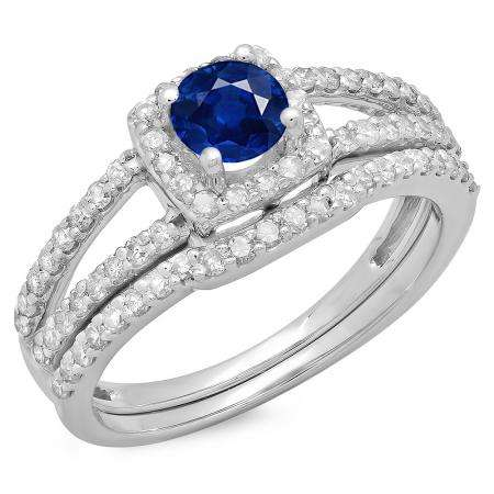 1.00 Carat (ctw) 14K White Gold Round Blue Sapphire & White Diamond Ladies Split Shank Halo Bridal Engagement Ring With Matching Band Set 1 CT