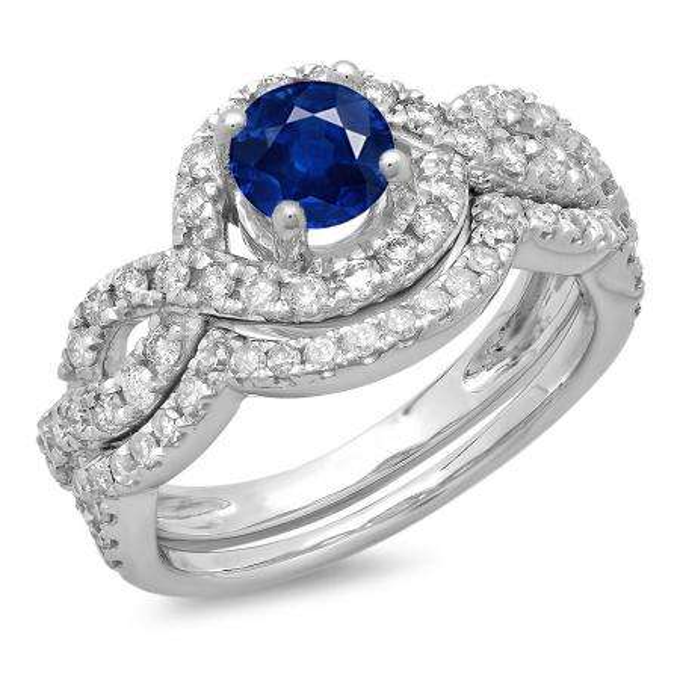 1.75 Carat (ctw) 10K White Gold Round Blue Sapphire & White Diamond Ladies Swirl Bridal Halo Engagement Ring With Matching Band Set 1 3/4 CT