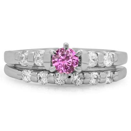 1.00 Carat (ctw) 10K White Gold Round Cut Pink Sapphire & White Diamond Ladies Bridal Solitaire With Accents Engagement Ring Matching Band Set 1 CT
